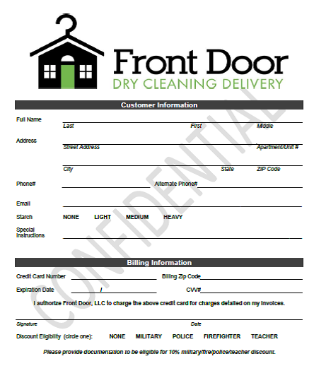 Front Door Customer Information Form
